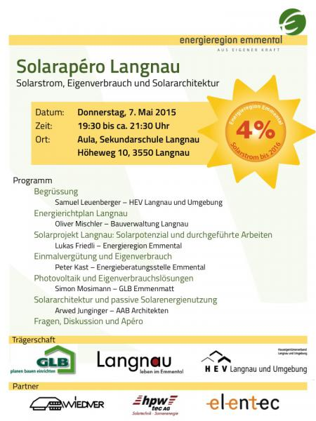Einladung Solarapéro Do, 7. Mai in Langnau